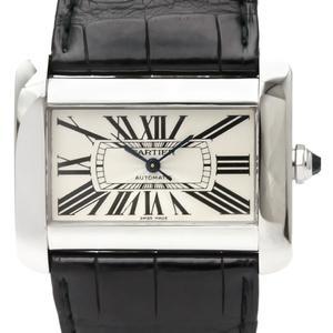 【CARTIER】カルティエ タンクディヴァン LM ステンレススチール レザー 自動巻き メンズ 時計 W6300755