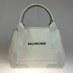Auth Balenciaga 339933 Cover S Canvas,Leather Tote Bag White