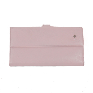 Auth Chanel Long Wallet Camellia Whook Pink