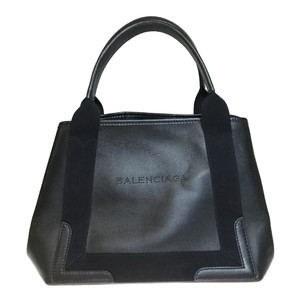 Auth Balenciaga 339933 Cover S Leather,Canvas Tote Bag Black