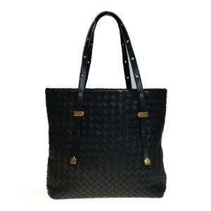 Auth Bottega Veneta Intrecciato 162937 Leather Handbag,Tote Bag Black