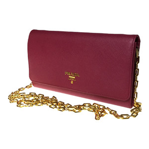 Auth Prada 1MT440 Chain Wallet  Leather Wallet lose Pink