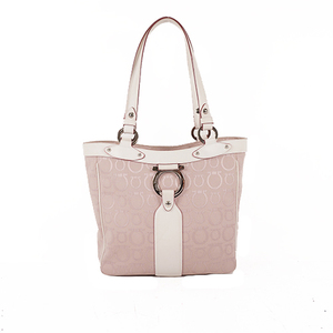 Auth Salvatore Ferragamo Tote Bag  Canvas Pink Whit Silver