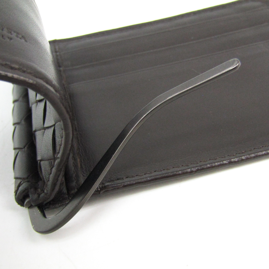 ボッテガ・ヴェネタ(Bottega Veneta) イントレチャート 123180 メンズ  カーフスキン マネークリップ ブラウン