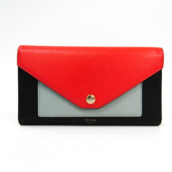 セリーヌ(Celine) ポケット トリフォールド 105853 レディース  カーフスキン 長財布(三つ折り) ブラック,グレー,レッド