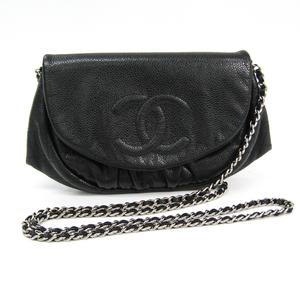 Chanel Caviar Skin Half Moon Women's Caviar Leather Shoulder Bag Black