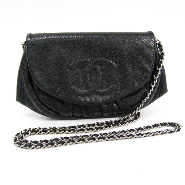 Chanel Caviar Skin Half Moon Women's Caviar Leather Shoulder Bag Black