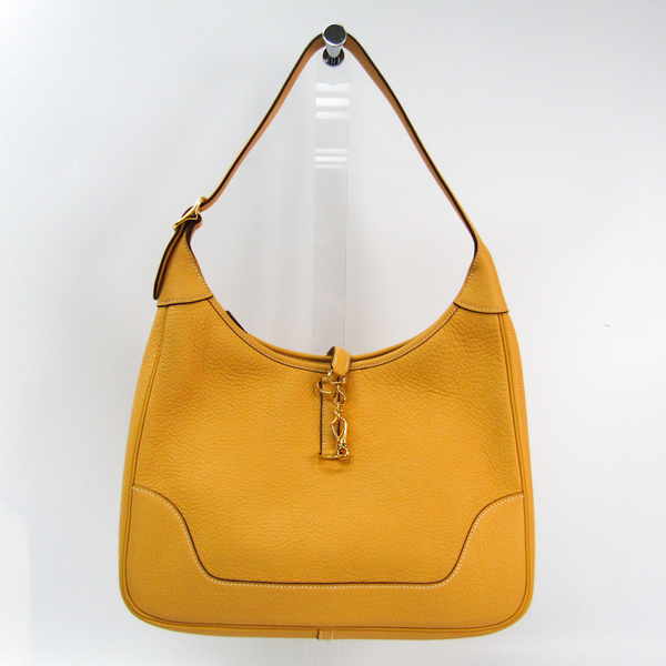Hermes Trim 31 Women's Taurillon Clemence Leather Shoulder Bag Saffron