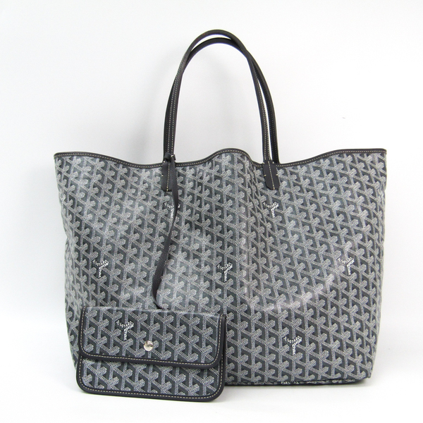 Goyard Saint Louis Saint Louis GM Leather,Canvas Tote Bag Gray