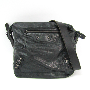 Balenciaga Day Mens Day 141175 Leather Shoulder Bag Dark Green