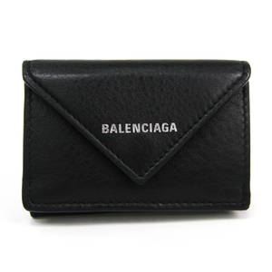 Balenciaga Paper Mini Wallet 391446 Women's Leather Wallet (tri-fold) Black
