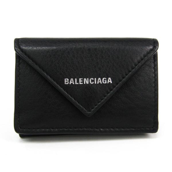 Balenciaga Paper Mini Wallet 391446 Women's Leather Wallet (tri-fold) Black