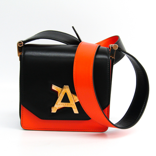 Anteprima ALISEA A Turn Lock AB18S55008 Women's Leather Shoulder Bag Black,Blue,Orange