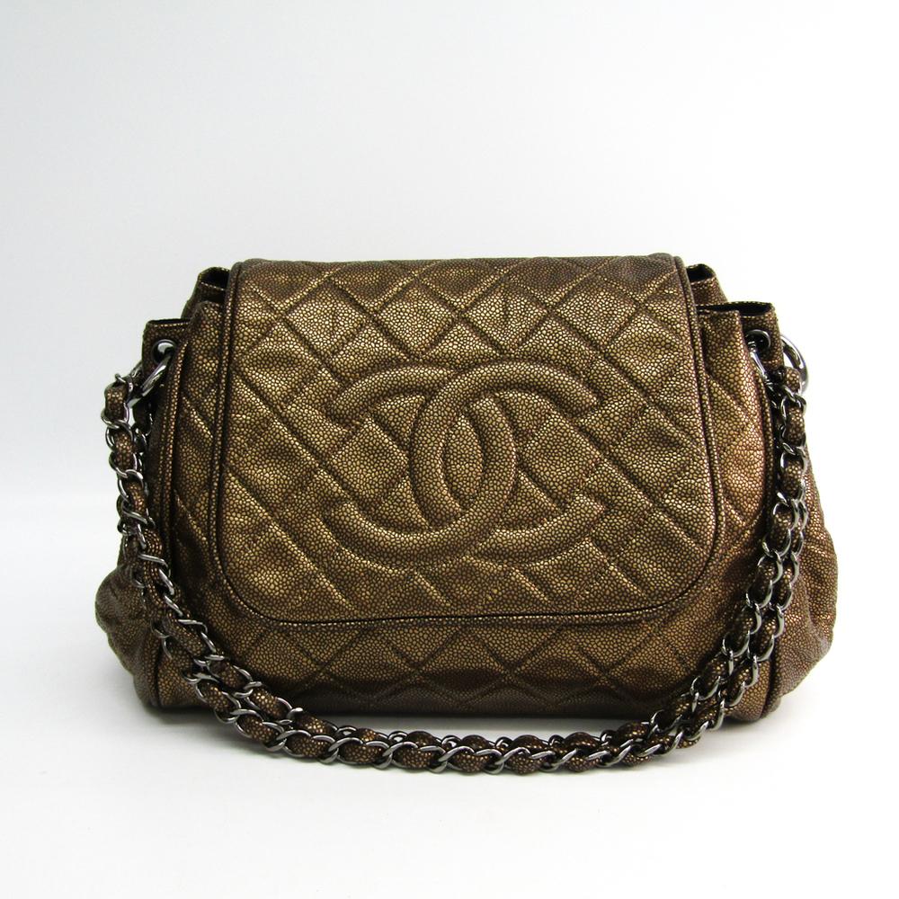 Chanel Women's Caviar Leather Shoulder Bag Gold