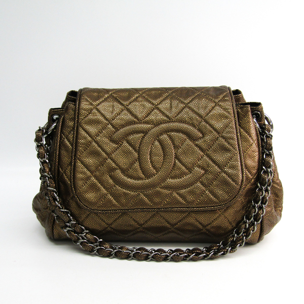Chanel Women's Caviar Leather Shoulder Bag Gold