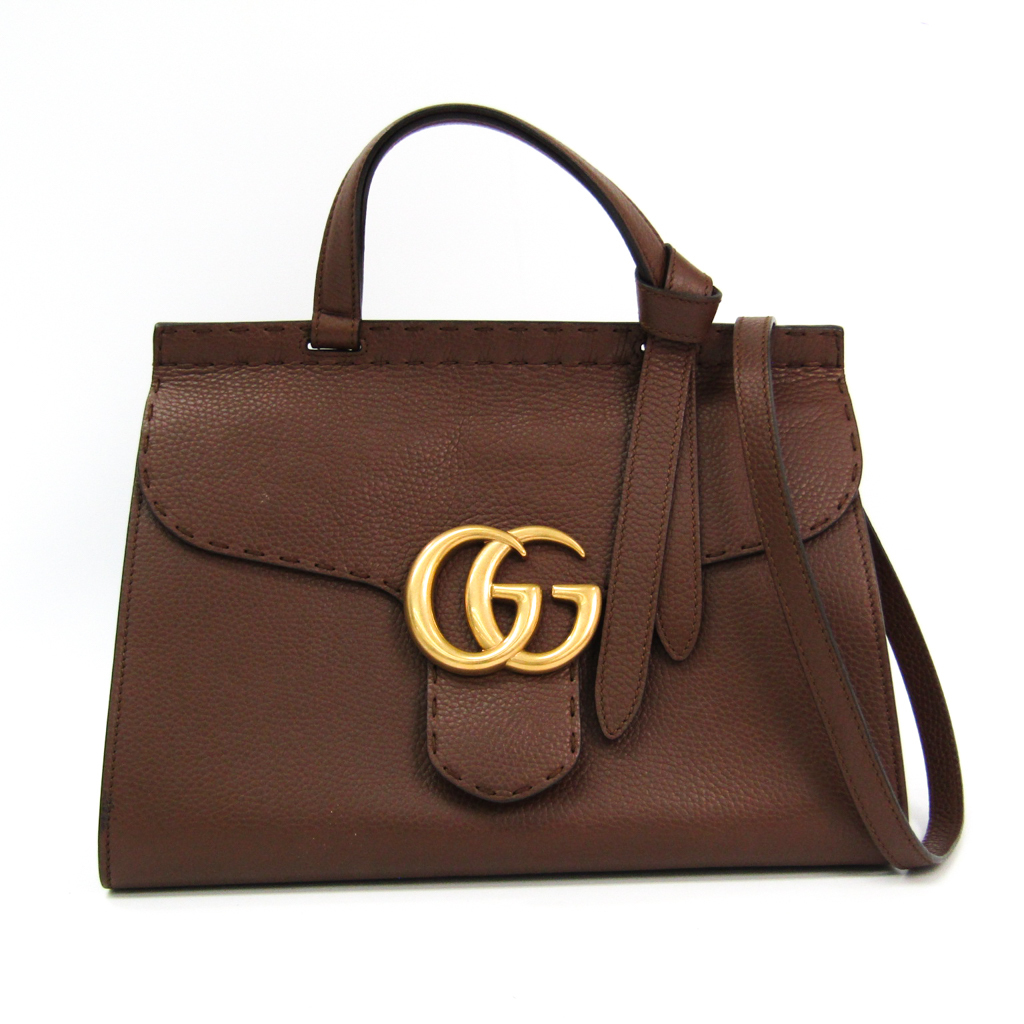 b60db7398 Details about Gucci GG Marmont Leather Top Handle Bag 421890 Leather Handbag  Brown BF342958