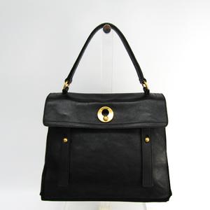 Yves Saint Laurent Muse Two 197149 Women's Leather Handbag Black