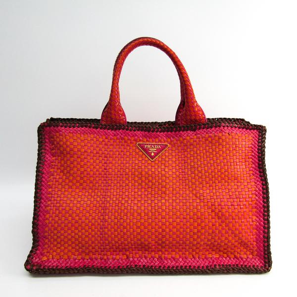 プラダ(Prada) カナパ BN2113 ユニセックス レザー トートバッグ ブラウン,オレンジ,ピンク