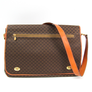 Celine Macadam Unisex PVC,Leather Shoulder Bag Beige,Brown