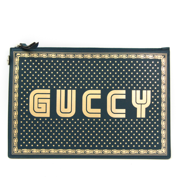 Gucci GUCCY Logo 510489 Unisex Leather Clutch Bag Gold,Green