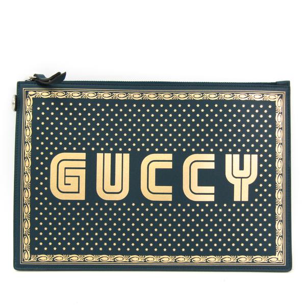グッチ(Gucci) GUCCYロゴ 510489 ユニセックス レザー クラッチバッグ ゴールド,グリーン