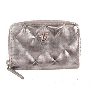 Chanel Matelasse Coin Purse Women's Leather Coin Purse/coin Case Silver