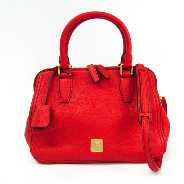 MCM MWB3AAF01 Women's Leather Handbag Red