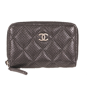 Chanel Matelasse A69080 Women's Leather Coin Purse/coin Case Black