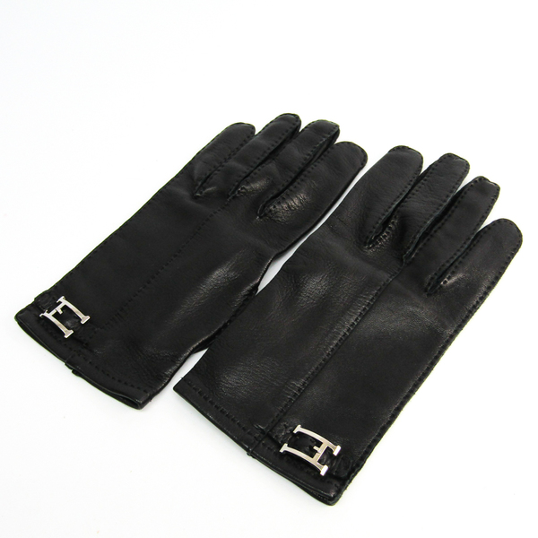 Hermes H Metallic Parts 9 Men's Gloves Black Leather