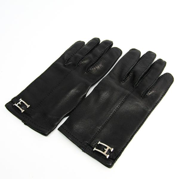 エルメス(Hermes) H金具 9 メンズ 手袋 ブラック レザー