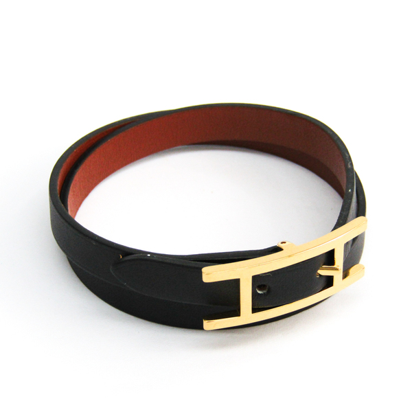 Hermes Hapi De Bretair Leather Bracelet Black,Brown
