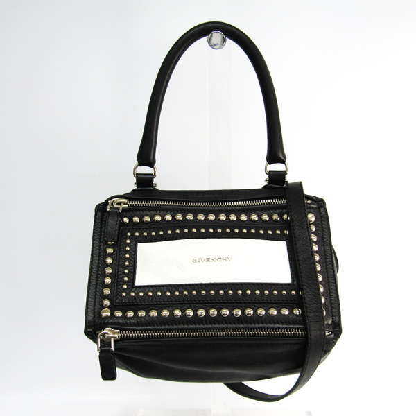 Givenchy Pandora Small Studs Women's Leather Handbag,Shoulder Bag Black,White