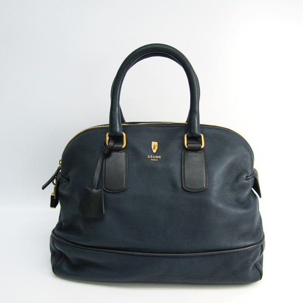 Celine Medium Bowling 164053 Unisex Leather Handbag Navy
