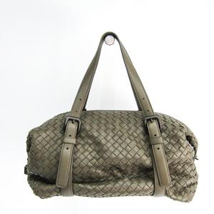 Bottega Veneta Intrecciato Women's Leather Shoulder Bag Khaki