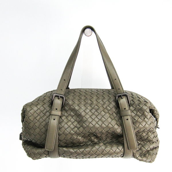 Bottega Veneta Intrecciato Women's Leather Shoulder Bag Khaki