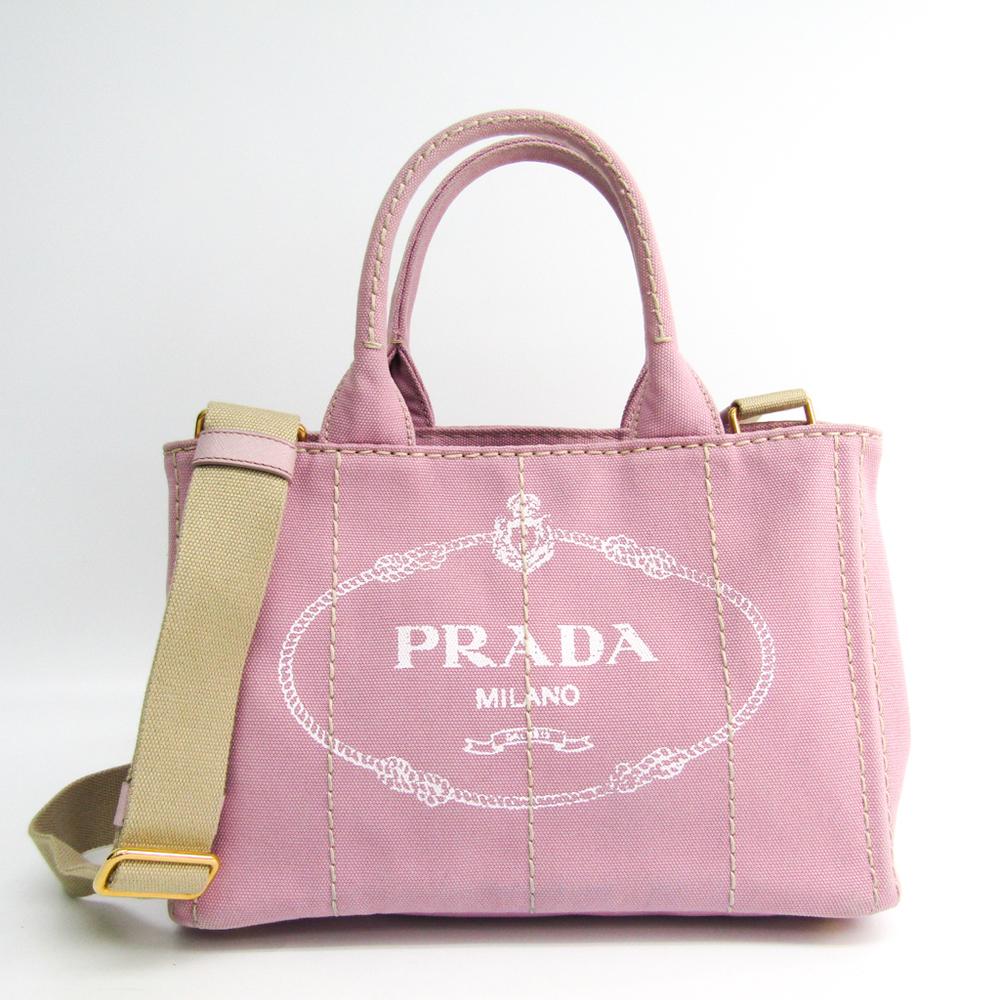 Prada Canapa ALABASTRO 1BG439 Women's Canvas Tote Bag Pink