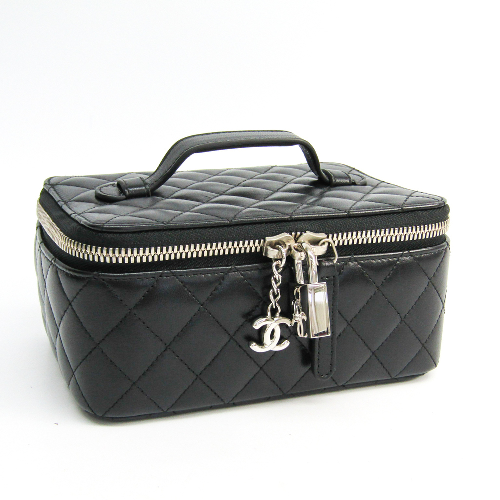 Chanel Jewelry Case Black Leather