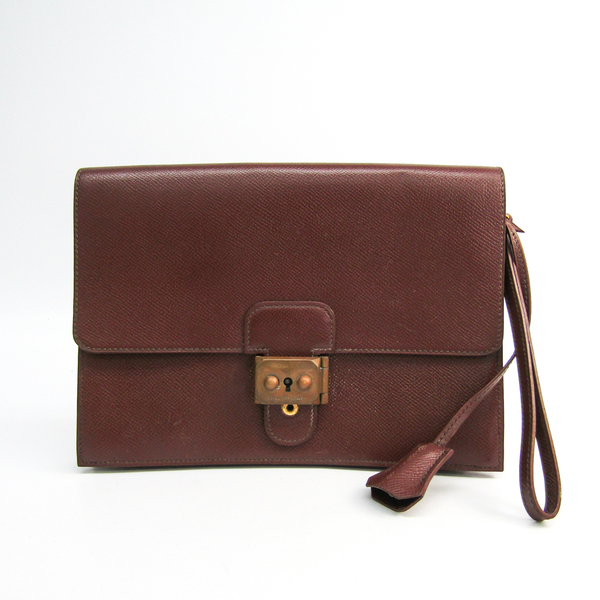 Hermes Jet Unisex Courchevel Leather Clutch Bag Brown