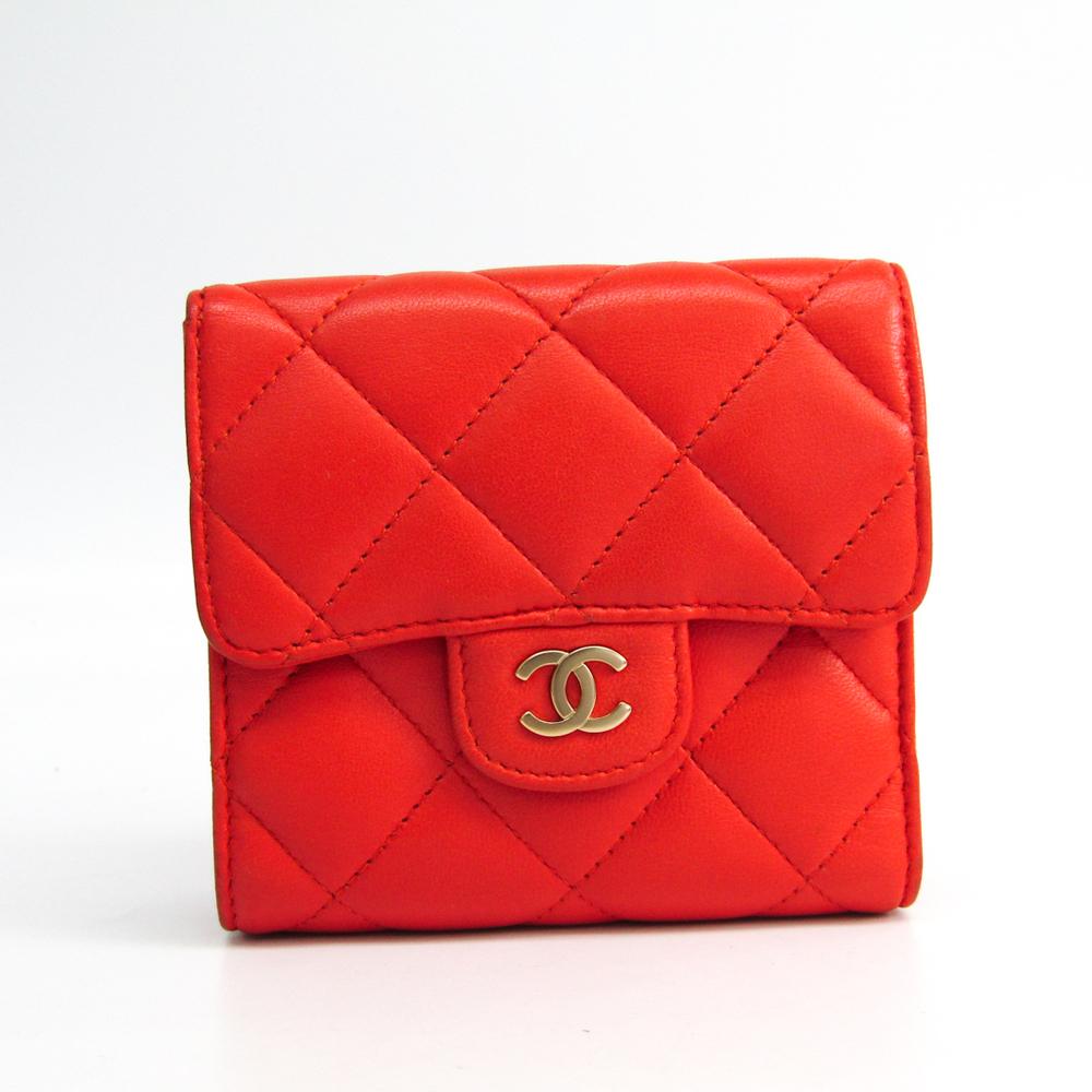 Chanel Matelasse A31507  Calfskin Wallet (tri-fold) Orange Red