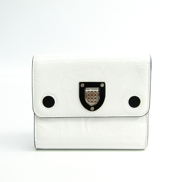クリスチャン・ディオール(Christian Dior) ディオラマ レディース  パテントレザー 財布(三つ折り) ホワイト