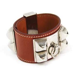 Hermes Collier De Chien Barenia Leather,Metal Bracelet Brown,Silver