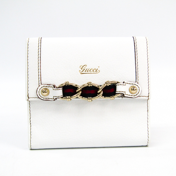 Gucci 154186 Unisex Webbing Calfskin Wallet (tri-fold) Navy,Red,White