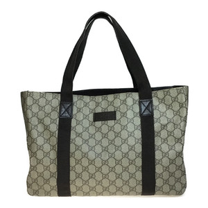 Auth Gucci GG Plus 141624 PVC,Leather Tote Bag Beige,Brown