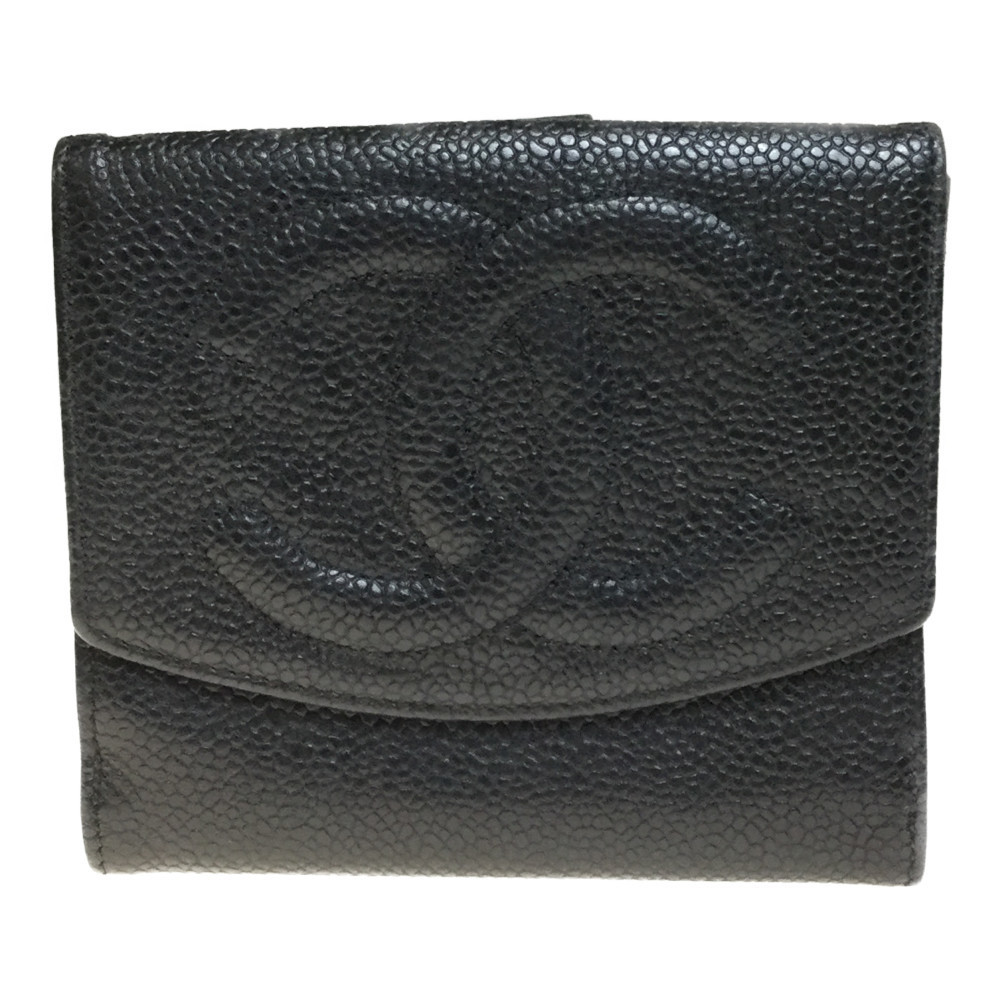 Auth Chanel Caviar Leather Wallet (bi-fold) Black