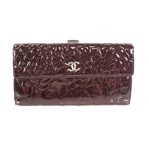Chanel Camellia 長財布 Long Wallet Women's Patent Leather Long Wallet (bi-fold) Black