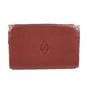Auth Cartier Must Cluch Bag Men,Women,Unisex Leather Bordeaux