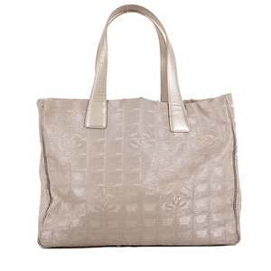 Auth Chanel New Travel Line ToteMM Nylon Silver