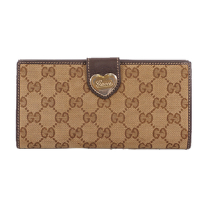 Auth Gucci GG Canvas Long Wallet Beige