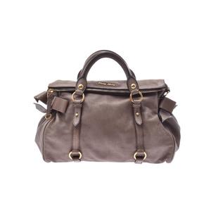 Miu Miu 2way Hand Bag Leather Bag Gray