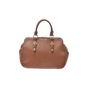 Miu Miu 2way Handbag Leather Bag Brown